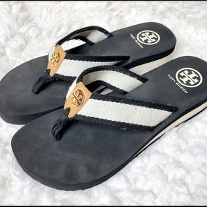 Tory Burch Black White n Tan Fabric Flip Flops 8M